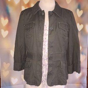 AnnTaylor loft army green 3/4 sleeve jacket